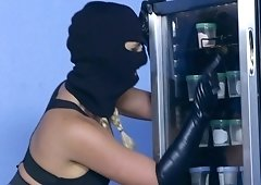 Robber Phoenix Marie gets double penetrated & mouth cumload in a sperm bank