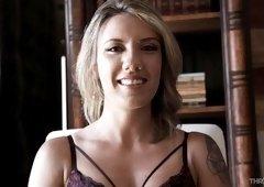 Good looking Sophia Grace enjoys blowing a long stiff shaft