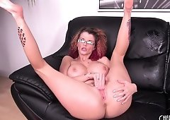 Joslyn James sits on his fuck stick then sucks its creamy juices