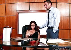 Horny boss doggy fucks sexy red haired cutie Monique Alexander in the office