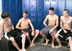 Locker room orgy with steamy blowjobs