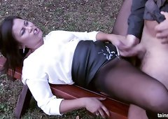 Mature Kara Magic screwed upskirt in a doggy position