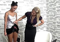 Two lovely lesbians want to please each other with a vibrator