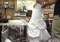 Beautiful bride bangs pawnshop owner
