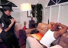 Nasty girl Lela Star has fun with a big load of black cock