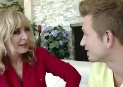 Marvelous yellow-haired experienced lady Nina Hartley is getting cumshot