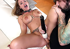 Busty MILF whore Britney Amber tied up and pounded hardcore