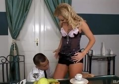Hot blonde Tori is curious about a horny lover's hard boner