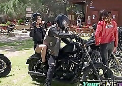 Horny biker chick anally pounded