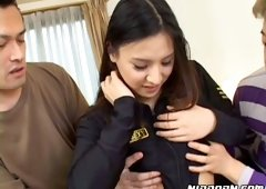Cute Asian girlfriend shows off her perky hard nipples