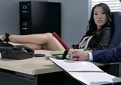 A hot Asian slut is getting fucked in the office by her employee