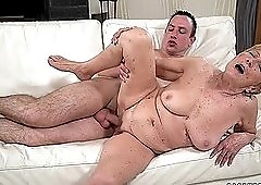 Granny cunt gets fucked hard by his young dick