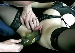Milf receives fucked by a wine bottle