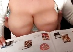Nicely curved tits beauty flashes her perfect melons