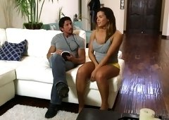 Mesmerizing curvy masseuse Keisha Grey gets poked during oily massage