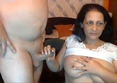 Mature wife with big natural boobs sucking my dick