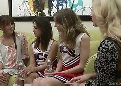 Naughty MILF Cherie Deville lures pretty cheerleader for lesbian intercourse