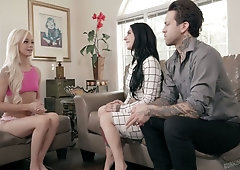 Pretty hot blondie Elsa Jean gets intimate with Joanna Angel and her husband