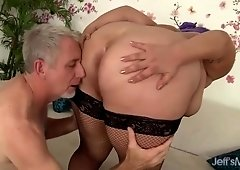Cute and chubby BBW Jade Rose gets pussy filled with cock.