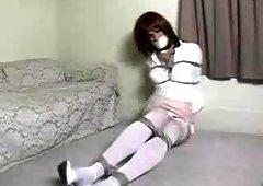 Sandra in self bondage