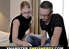 Horny nerdy blonde chick decides to fuck instead of studying