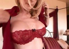 Crazy pornstar Nina Hartley in incredible creampie, mature adult clip