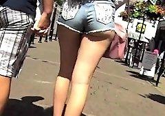 Street voyeur chasing amateur girls with wonderful asses