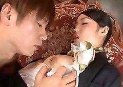 Japanese brunette MILF Saionji Reo gets her face cum covered
