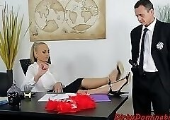 Submissive babe anally doggystyled in office