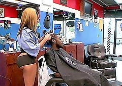 Toni Sweets gets her wet cunt fucked hard at a barber shop