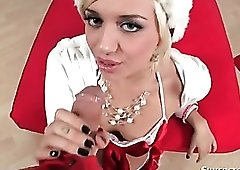 Christmas lingerie on glam cocksucking slut
