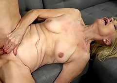 Old and young porn scene of slender Szuzanne and tender Mugur