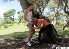 Fetching busty latin young gal Jasmine Black was back door drilled in public place