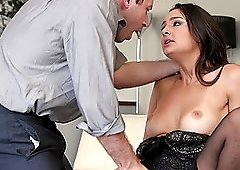 Babe Eliza Ibarra with her favorite stockings takes care of a cock