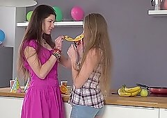 Horny lesbians Andrea Sixth and Kamilla stuff their pussies with toys