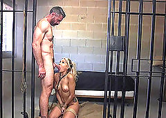Bombshell blonde babe Carmen Caliente pounded and creampied in prison