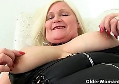 sexually attractive big beautiful woman granny plays with her hoochie-coochie compilation