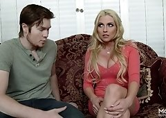 Alluring Christie Stevens giving her horny guy superb blowjob