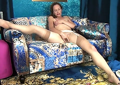 Sexy stewardess Claire Adams is masturbating sex-starved shaved pussy