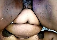 bbw gets her big black butt pounded from behind then gets him 2 shoot