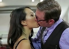 Secretary services his cock with her hot mouth and pussy