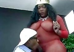BBW black shemale gets cock sucked by submissive black man