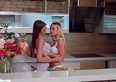My kitchen love - lesbian scene with Kiara Lord and Suz