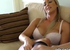 Pleasing buxomy mom Abbey Brooks having fun in stockings