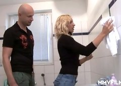 Slim blond GF is sucking dick before crazy doggy style sex in the bathroom