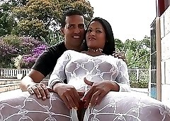 Latina in white bodystocking received a huge facial load