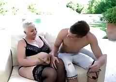 Grandma fucks in pool