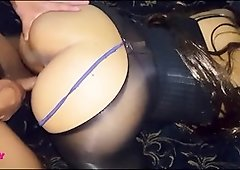 Stellar Brown-Haired In Pantyhose and undergarments Gets Plumbed her nephew