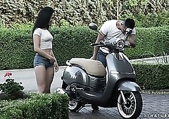 Natural raven haired GF of lewd biker Nikki Fox gives him a good BJ