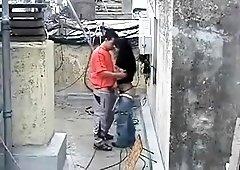 Slender amateur brunette gets drilled doggystyle outside